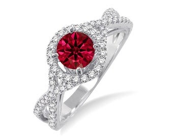 Marvellous 1.50 Carat Round Ruby and Diamond Engagement Ring for Her in 14k White Gold affordable ruby & diamond engagement ring