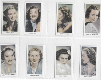 RARE British Cigarette Card Set (40 Cards) - Screen Stars Issued in 1939 by Abdulla. Superb Female Film Star Portraits In Colour.
