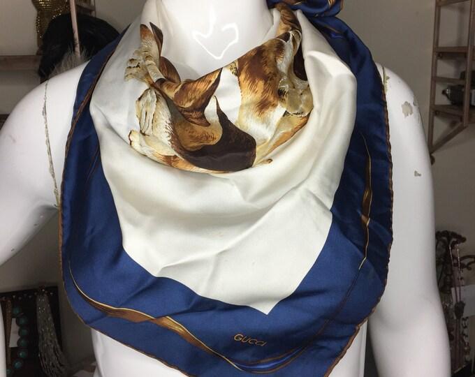 Vintage Estate Gucci Dog Print Silk Ascot Tie Scarf Shawl