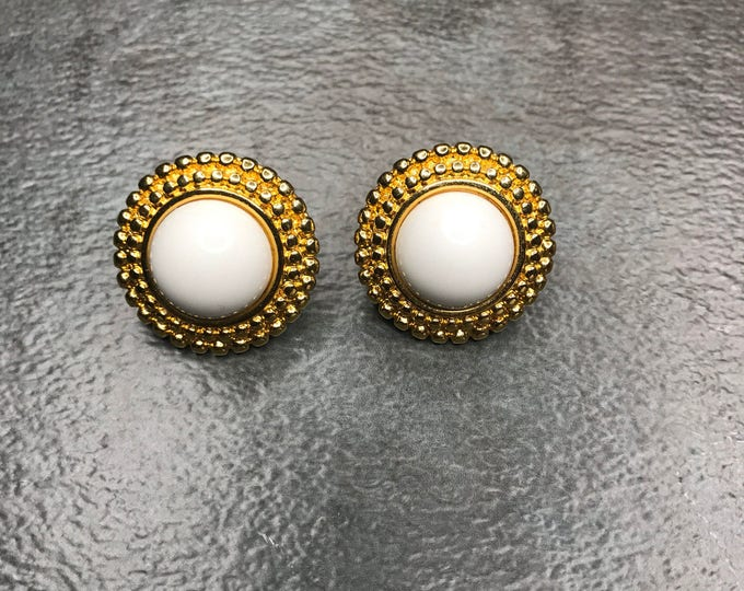 Vintage Estate  Monet Gold Tone Circle White Center Clip On Earring