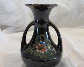 Vase, Ceramic, Brown Glaze, Hand Painted Flowers, Japan, 1950's