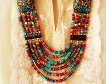 Turquoise and Red Statement Necklace/Tribal Necklace/Turquoise Necklace/Chunky Indian  Necklace/Bohemian Necklace