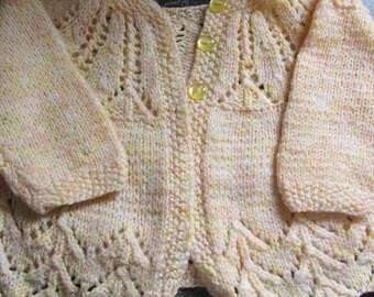 Vintage Handmade Baby Sweater 0-6 Month.  Light Peach, Yellow, and Cream Sweet Pattern