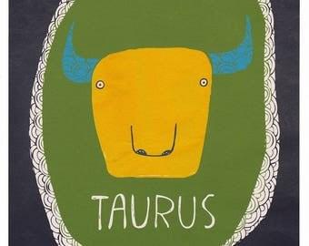 Taurus print, Zodiac artwork, Taurus horoscope sign, Gift for Taurus, April and May birthday gift