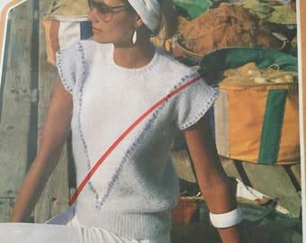 Wendy ladies summer jumper knitting pattern 1980's