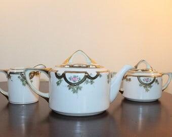 Handpainted Nippon Tea Set - Teapot Cream and Sugar