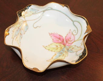 Limoges Old Abbey Dish or Shallow Bowl with Pastel Leaf Design – Hand-Painted