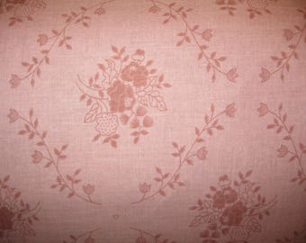 100 percent cotton fabric/rose color with flowers and vines/quilting/crafts/apparel