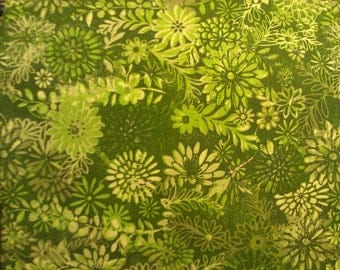 100 percent cotton batik fabric/green/lime green/quilting/crafts/apparel
