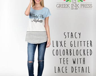 """Stacy Luxe Glitter """"Theta Phi Alpha Logo"""" Colorblocked Tee with Lace Detail"""