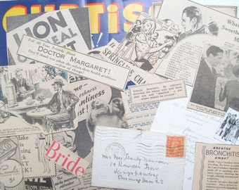 1940s magazine clippings and ephemera: pack of 36 paper pieces. Vintage paper pack for crafting, scrapbooks, decoupage, journaling EP510
