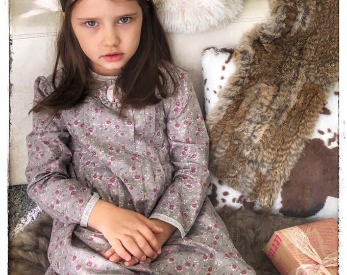Girls Cotton Dress, Long Sleeve Girls Dress, Warm Cotton Dress in Gray and Purple, Little, Holiday Dress
