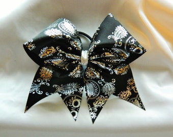 Day of the Dead Dia de los Muertos in Black and Silver Cheer Bow Hair Bow