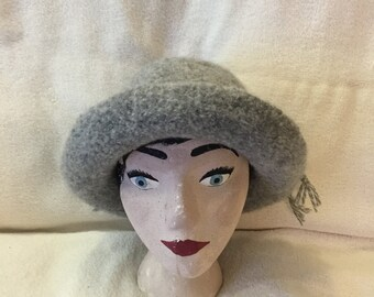 Gray with white highlights wool felted hat with cord