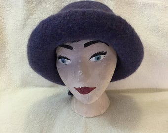 Purple heather 100% wool felted hat with cord