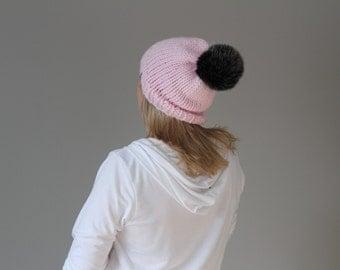 Faux Fur Pom Pom Hat Slouch - Baby Pink - Black Pom - Ready to Ship -114