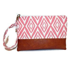 Pink iPhone wallet, wristlet wallet, vegan leather clutch