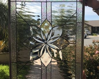 "The ""Irvine"" Stunning All Clear Beveled & Waterglass stained glass window (We do custom work! Please email me for a quick quote)"