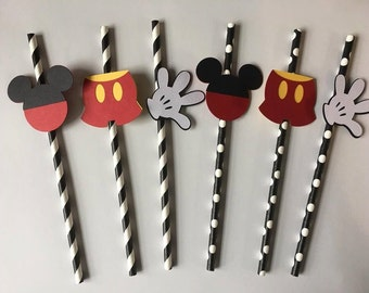 12 Mickey Mouse paper straws. Set of 12. Perfect for Birthday Parties or baby showers. Free Shipping