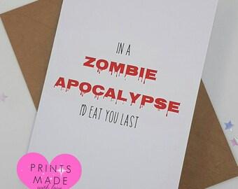Zombie apocalypse card birthday valentine boyfriend girlfriend best friend walking dead