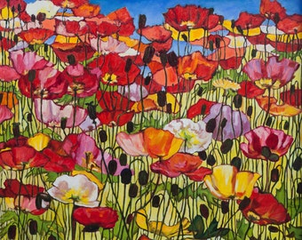 Oil Painting Colourful Poppy Field ORIGINAL Artwork Floral Wall Decor Wall Hanging Art 72×60cm