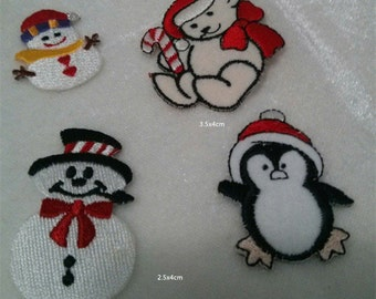Wholesale lot  4pcs  Penguin Snowman  embroidered iron  on patch