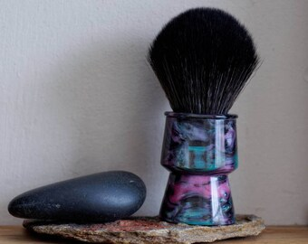 Shaving Brush - Abalone Resin Lathe-Turned Handle with Synthetic BOSS Knot