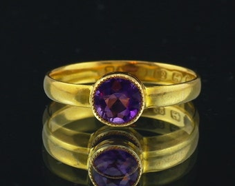 Antique Victorian Gold Amethyst Ring 22ct 22K  j698