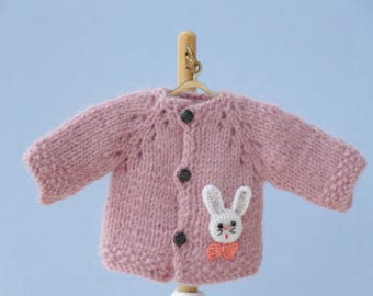 "6"" doll pink knitted Jacket. BJD doll jacket. Lati yellow clothes. Fit to AG doll 6 inches.16cm bjd outfit. Bunny clothes dolls jacket."
