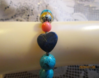 "Tibetan Silver Genuine Turquoise, Coral, Lapis Lazuli & Carnelian Dzi Heart Bead Bracelet 7.5"" Long, Wt. 31 Grams"