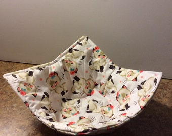 Microwave Bowl Cozy, Microwave Pad,Cold Food Cozy, Table Protector, Reversible, Gifts under 10 dollars, all cotton, Cutie Cats