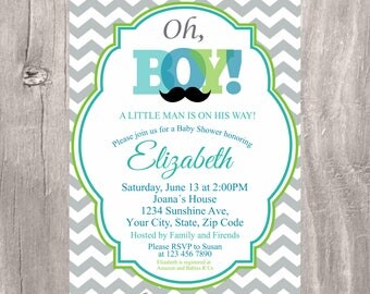 Little Man Baby Shower Invitation, Baby Boy Gray Blue Green Mustache Little Man Invite, Boy Baby Shower Mustache Printable Invite