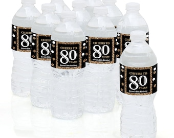80th Birthday Party - Water Bottle Sticker Labels - Personalized Waterproof Self Stick Labels - Adult 80th - Gold Birthday Favors - 10 Ct.