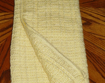 Hand-made Crocheted, Yellow Heirloom Baby Blanket