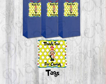 Dr. Seuss Birthday Tags/Cat In The Hat Tags/Birthday Tags/Boy Party/Girl Party/