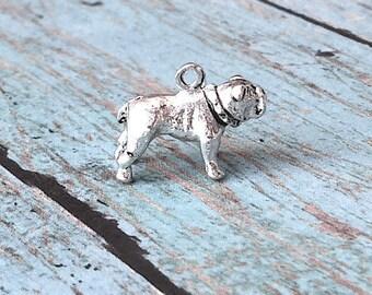 Bulldog charms 3D pewter (1 piece) - silver bulldog pendant, dog breed charm, English bulldog charm, pewter dog charm, Georgia charm, UU12
