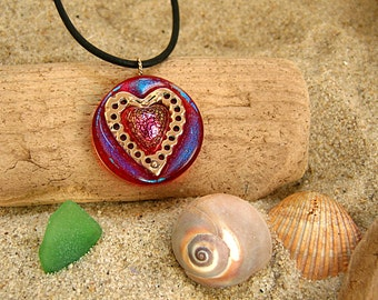 Bronze Heart and Dichroic Glass Pendant