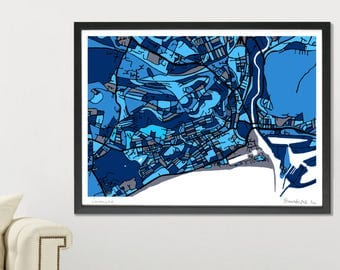 Swansea Art Map - Limited Edition Contemporary Giclée Print
