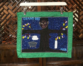 Haitian voodoo flag  of a human tree  in a forest by Azor