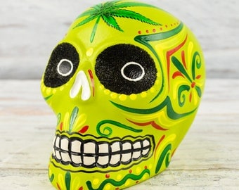 D097 Clay Skull Day of the Death Oaxacan Wood Carving Painting Handcrafted Folk