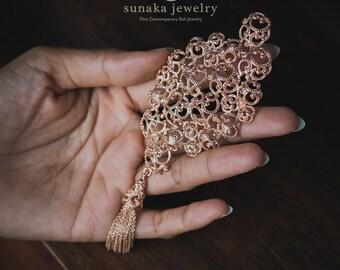 Balinese Ombak Segara Rose Gold Brooch / Sea Waves Ornamentation / 925 Sterling Silver Rose Gold Plated / Exclusive Design / Fine Quality