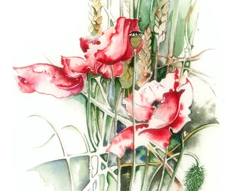 red poppies original watercolour plainair country joy nature floral field wheat grass corn grain shadow light clourful life Earth Day Gaya