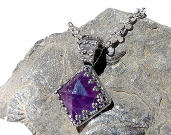 Sterling Silver Amethyst Necklace - Natural Amethyst Pyramid - Purple