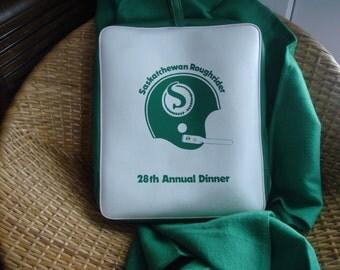 Vintage Saskatchewan Roughrider Stadium Seat and Blanket - 28th Annual Dinner Souvenir - CFL Memorabilia
