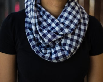 Dark blue and white checkered infinity scarf