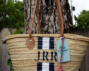 Blue stripes,personalized french market basket, custom monogrammed bridesmaid bag, customize straw bag, monogrammed beach bag
