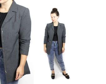 Grey blazer, Long blazer, Zip up jacket, Vintage jacket, womens jacket, 90s Blazer,  Classical style Jacket, Shoulder pads  / Medium
