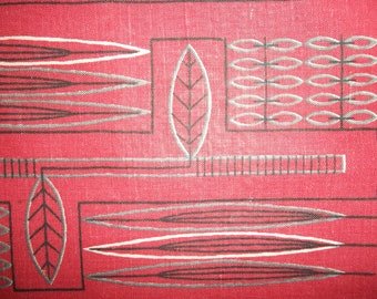 Vintage Swedish Placemat,  Table Cloth, Sagittaria, linen, red, design K.H., 50s