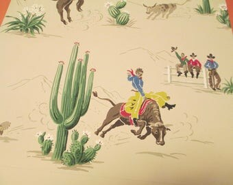 Vintage Cowboy Wallpaper 1950s for Framing Crafts 2 yards 2 Patterns Retro Ranch Cowboys Western Bronco Steer Rare Sample Remnant