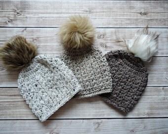 Girl Hat,  Girl Beanie, Slouchy  Hat, Knit Baby Girl Hat, Faux Fur PomPom Hat, Ladys Pom Pom Hat